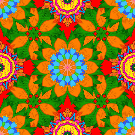 contrasty: Abstract ethnic ornament with decorative stylized flowers Illustration