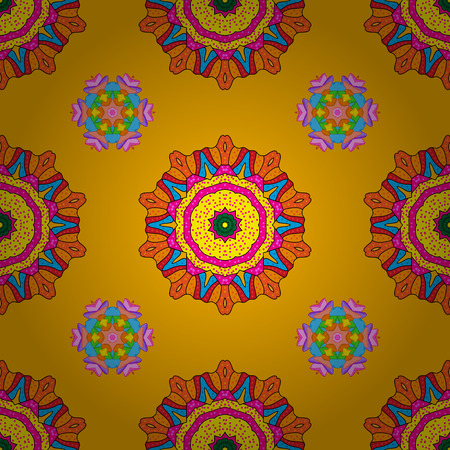 Bright ethnic ornament with decorative stylized flowers