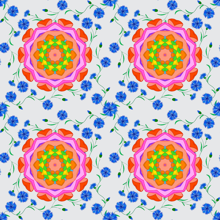 accents: Seamless pattern with stylized blue flowers, pink accents. Mandala doilies seamless pattern on white background