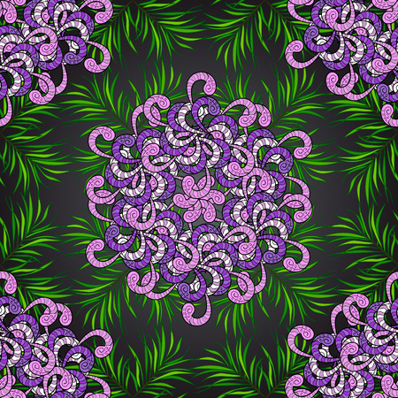 Vector vivid seamless abstract hand drawn pattern with plants. Illustration