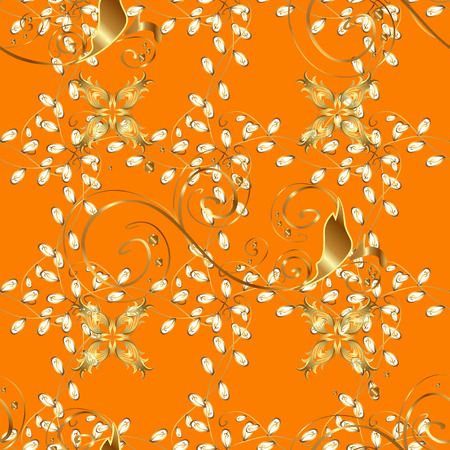 abstract pattern on orange yellow background with floral golden elements. Pattern background. Stock Photo