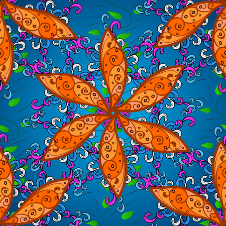 shawl: vivid seamless abstract hand drawn pattern with colorful plants. Stock Photo
