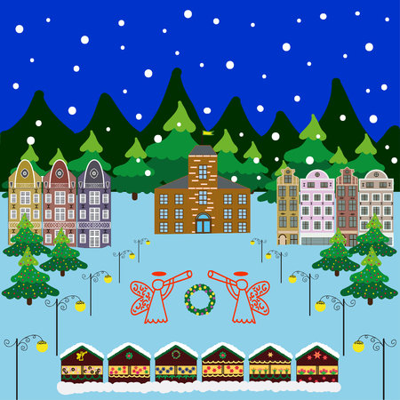 european alps: Vector xmas card with a decorated snowy old town at Christmas eve Illustration