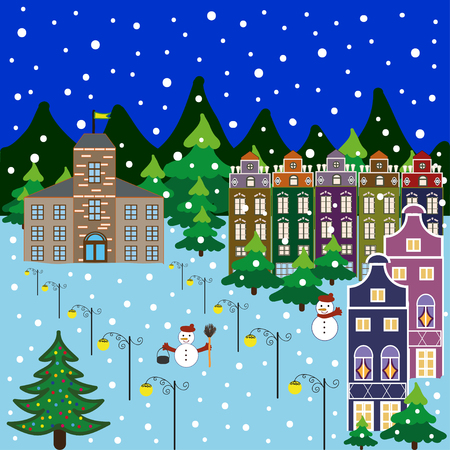 Vector xmas card with a decorated snowy old town at Christmas eve Illustration