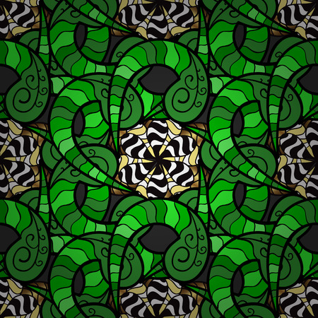 Abstract background with doodles flowers in color green. Vector illustartion. Illustration
