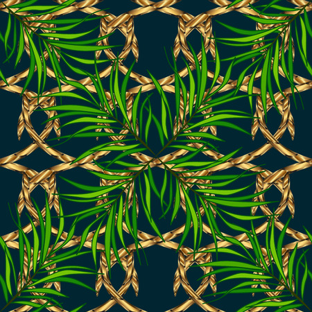 silver grass: Seamless vintage pattern on blue background with golden elements.