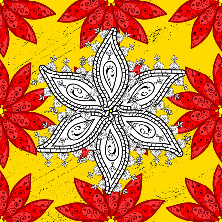 Seamless red and white doodles flower on yellow background with golden elements. Vector illustration.