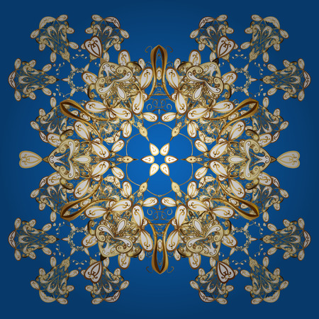 Vector pattern with floral elements. Abstract golden ornament Illustration