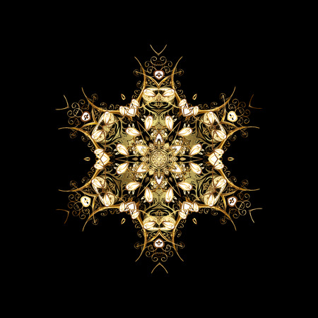 splendor: Oriental pattern with arabesque and floral elements. Abstract golden ornament Stock Photo