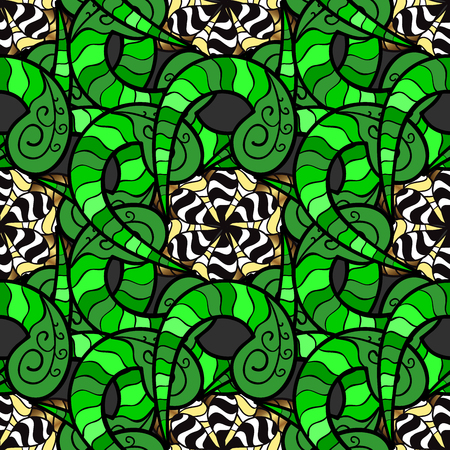 scrap gold: Abstract background with doodles flowers in color green. Stock Photo