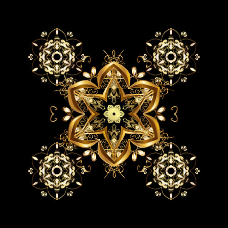 splendor: Pattern with colorful elements. Abstract golden ornament. Stock Photo