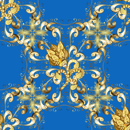 texture with golden floral doodles flowers on blue background