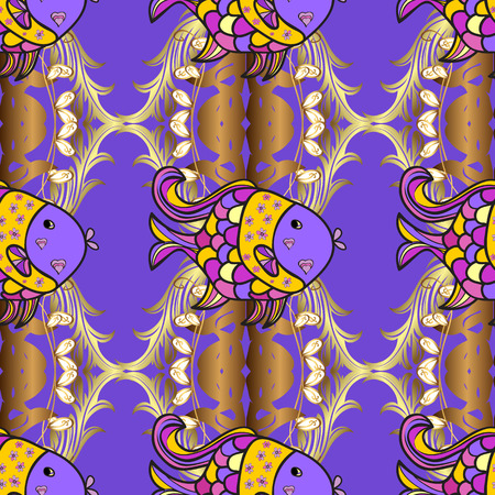 violet flowers: Doodles fishes on lilac and violet flowers background. Vector illustration. Illustration