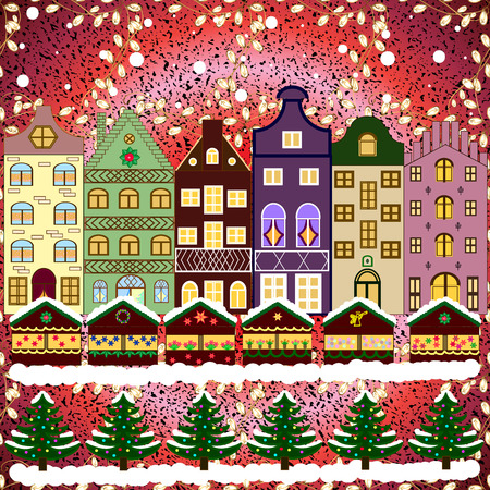 pink roof: Christmas winter city. Vector xmas card with a decorated snowy old town at Christmas eve.