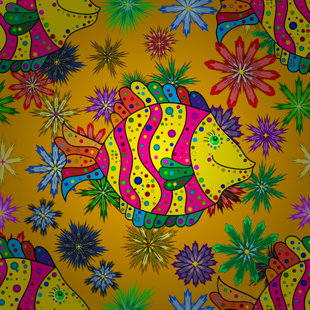 colorful fishes: Doodles colorful fishes on yellow and orange floral background. Vector illustration. Illustration