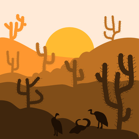 Cactus plants in desert sunset background. Vector illustration.