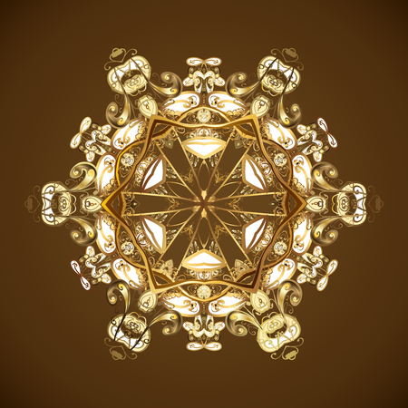 Pattern with vintage elements. Abstract golden ornament