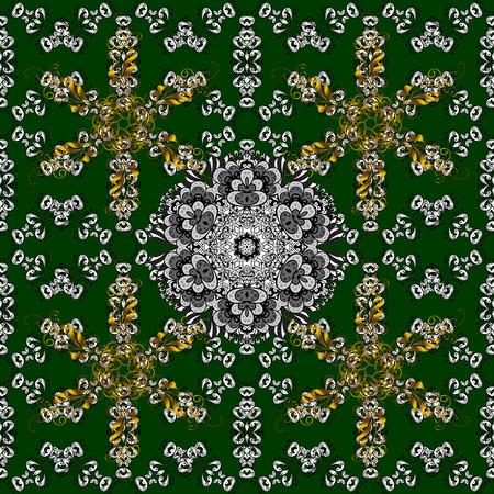 dilapidated: Vintage gradient dark green background illustration with golden and white elements. Vector illustration.