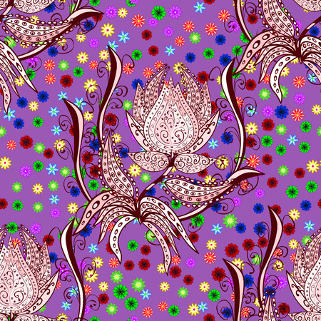 snazzy: Fantasy creative floral pattern on pink background. Colorful doodle ornament. Vector illustration.