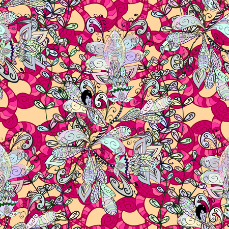 snazzy: floral pattern in colorful floral elements on pink background. Vector illustration.