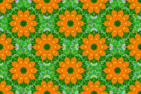 yelow: Seamless pattern with hand drawn ornamental mandalas. Floral ornament background. illustration in orange, yellow and green colors. Stock Photo
