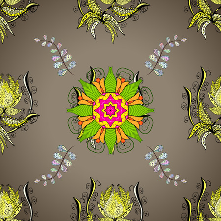 cerulean: Hand drawn seamless pattern with mandalas. Vector illustration.