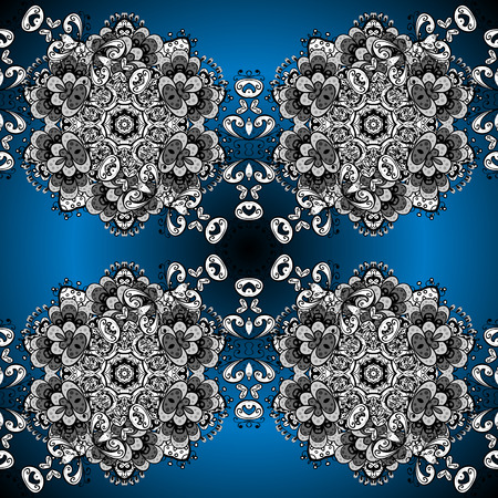 Vector texture with white and blue floral doodles flowers on blue radial gradient background with shadows.
