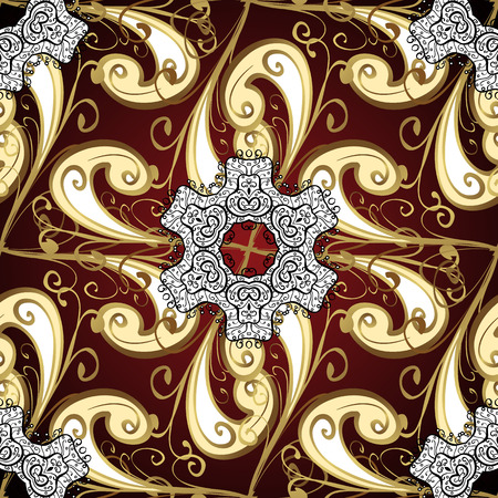 affluence: Abstract beautiful background with golden and white floral elements on brown background.