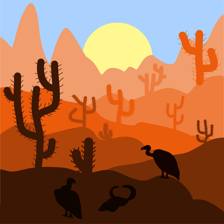 desert sunset: Cactus plants in desert sunset background. Vector illustration. Illustration