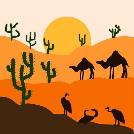 Cactus plants in desert sunset background. Vector illustration. Illustration