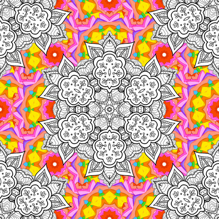 brawn: Vector seamless pattern with hand drawn doodle mandala. Indian tribal ornament. Yellow, pink, brawn and white colors. Colorful ethnic background. Illustration