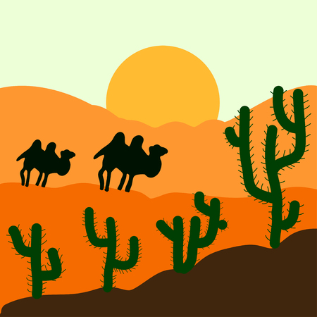 Cactus plants in desert sunset background. Vector illustration. Illustration