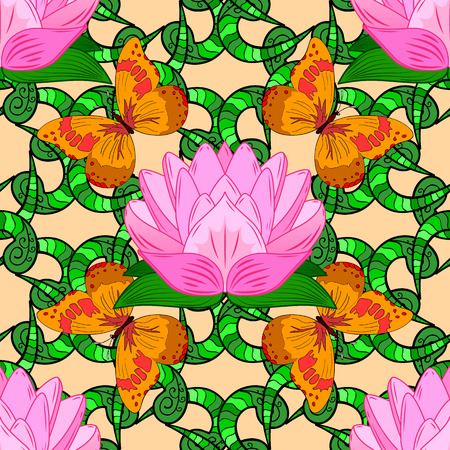 Seamless pattern of orange butterfly and green stripe doodles and pink lotus. Vector illustration. Illustration