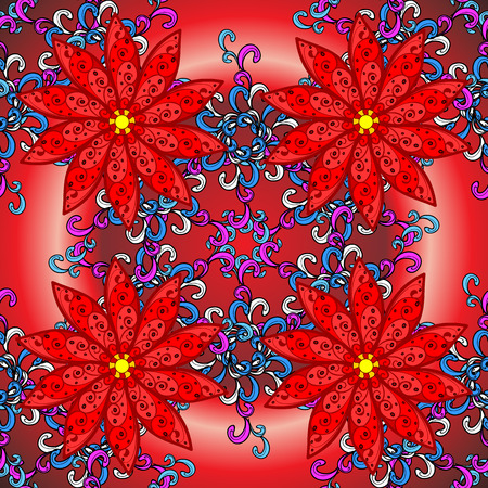 filigree: Vector red radial gradient background with vintage filigree floral pattern.