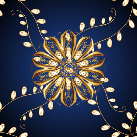 rococo: Decorative seamless golden texture on a dark blue background. Stock Photo