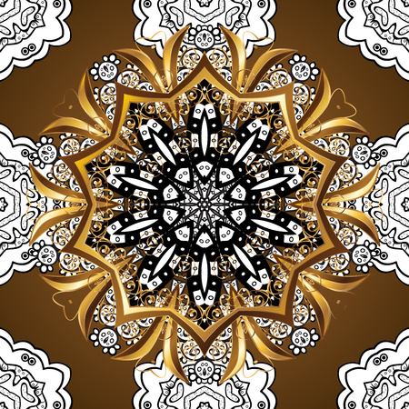plenitude: Abstract beautiful background with golden and white floral elements on brown background.