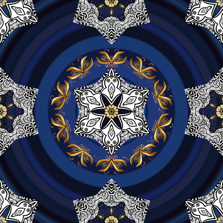 texture with white and blue floral doodles flowers on blue radial gradient background with shadows.
