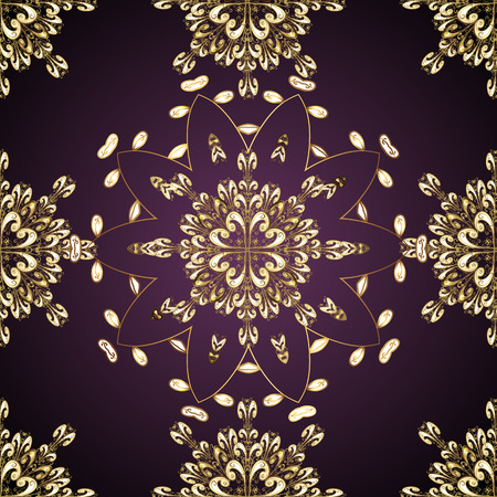 satin round: Seamless vintage pattern on lilac background with golden elements.