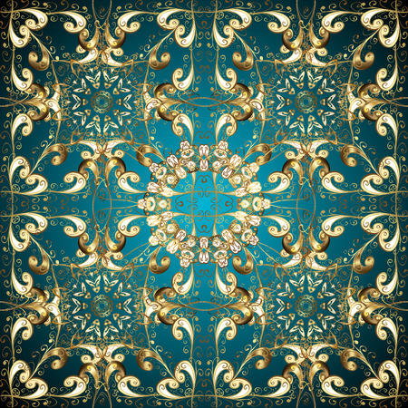 patter: vector gradient abstract golden doodles floral patter, dark blue round background