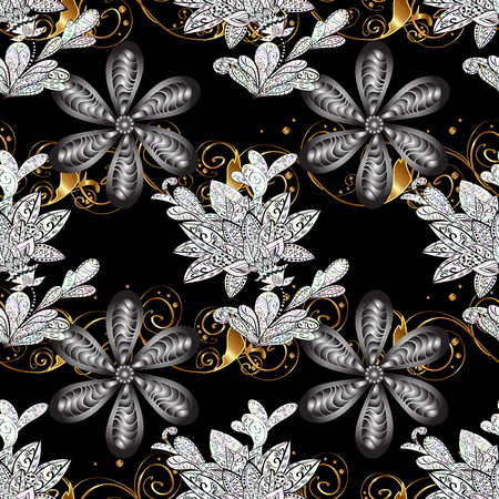 sumptuous: Seamless vintage pattern on black background with golden and white elements. Stock Photo