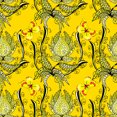 Abstract beautiful yellow background with floral elements. Illustration