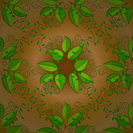 sacramental: Abstract pattern on yellow background with green leaves elements. Vector illustration. Pattern background. Stock Photo