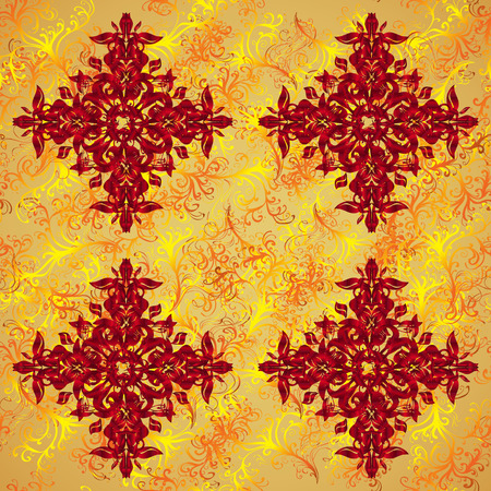 Autumn bright colors leaves carved seamless pattern for background or design work. Stock Photo