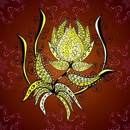 indian teenager: Dark red background with ornaments and yellow gradient background. Vector illustration. Illustration