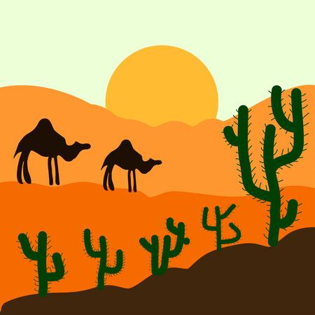 arizona sunset: Cactus plants in desert sunset background. Vector illustration. Illustration