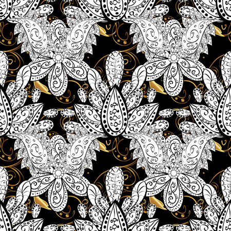sumptuous: Vintage pattern on black background with golden elements.