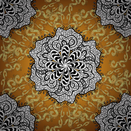 abstract seamless pattern on orange yellow background with floral golden elements. Vector illustration.