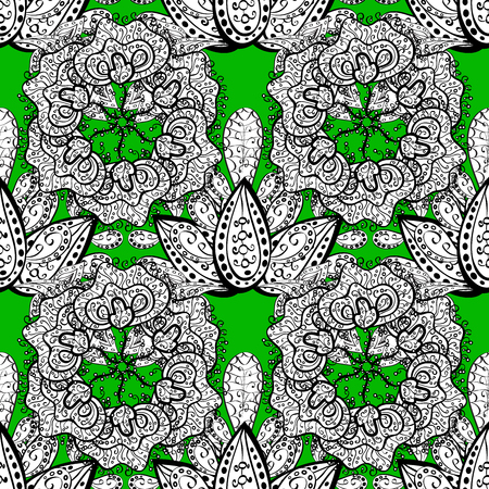 vintage pattern on green background with white doodles elements. Stock Photo