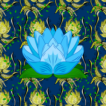snazzy: Fantasy creative floral pattern on blue background with lotus. Colorful doodle ornament.