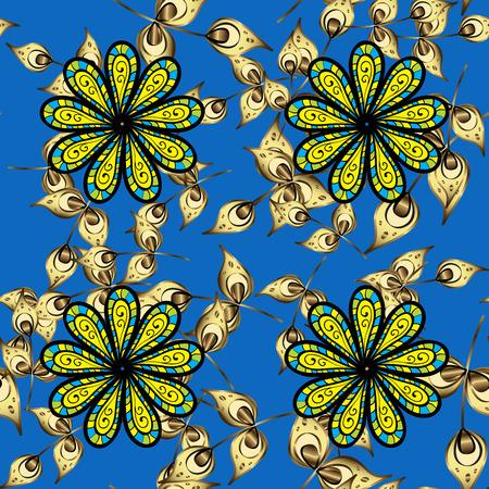 autumn motif: fall flower seamless pattern. yellow flowers repeatable motif. autumn gold flower. elegant natural ornament on deep blue background
